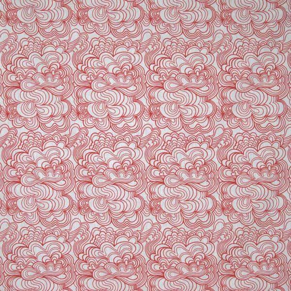 Duk Blomma vit/röd