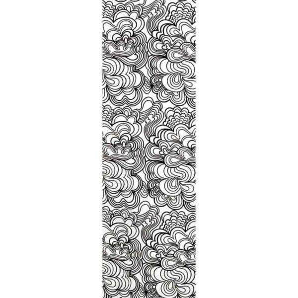 Panel Blomma vit/svart