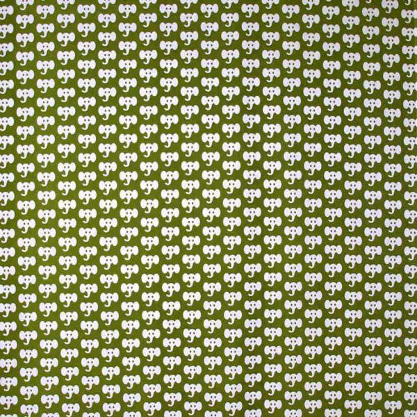 Mairo tyg mönster Elephant grön/vit